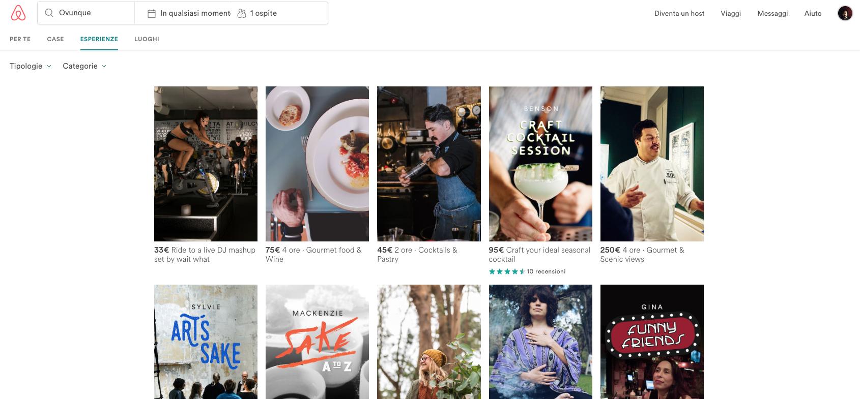 Airbnb esperienze   Dotmug